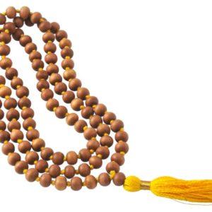 Mala pour mantras en bois de santal 108 perles